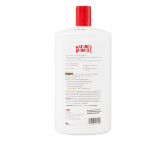 Natures miracle supreme odor control shampoo back label