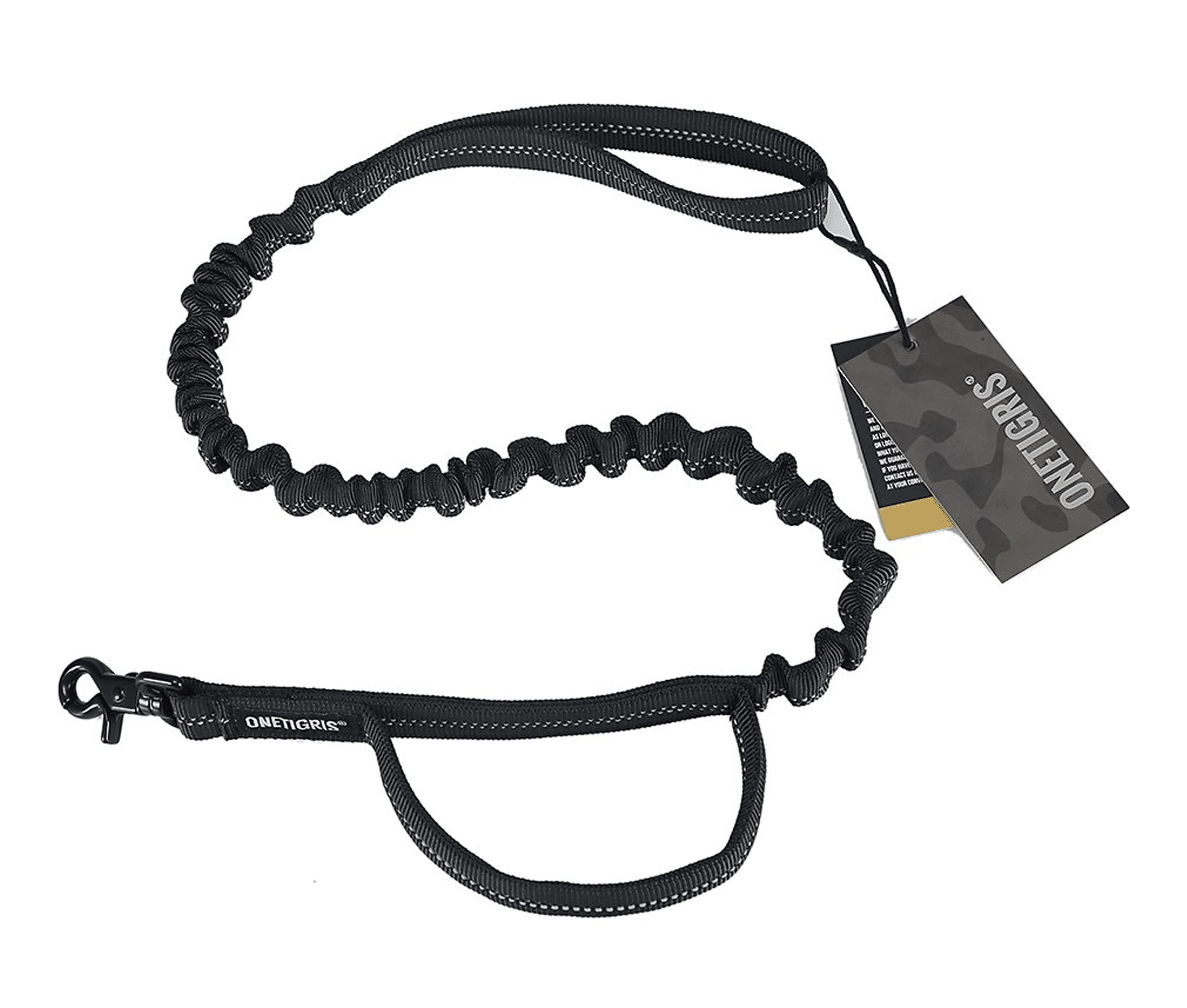 Training Bungee Reflective Dog Leash, Black
