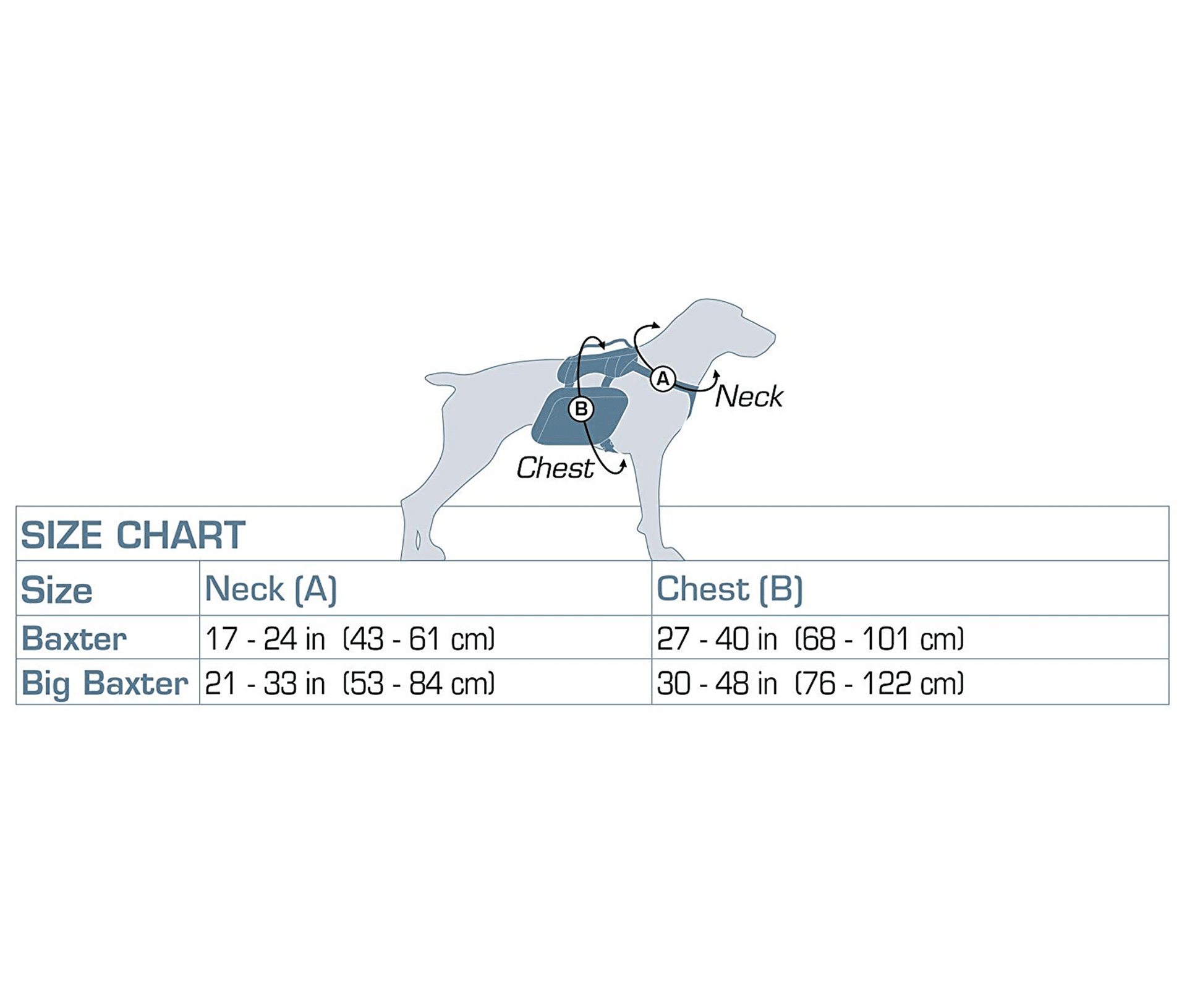 Kurgo Baxter Dog Backpack Size Chart