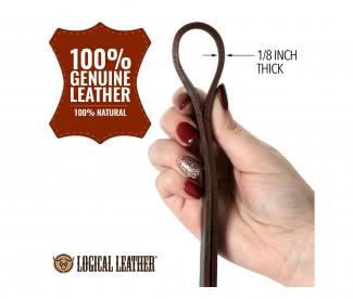 Logical Leather Dog Leash Best for Training Water Resistant Heavy Full Grain Leather Lead