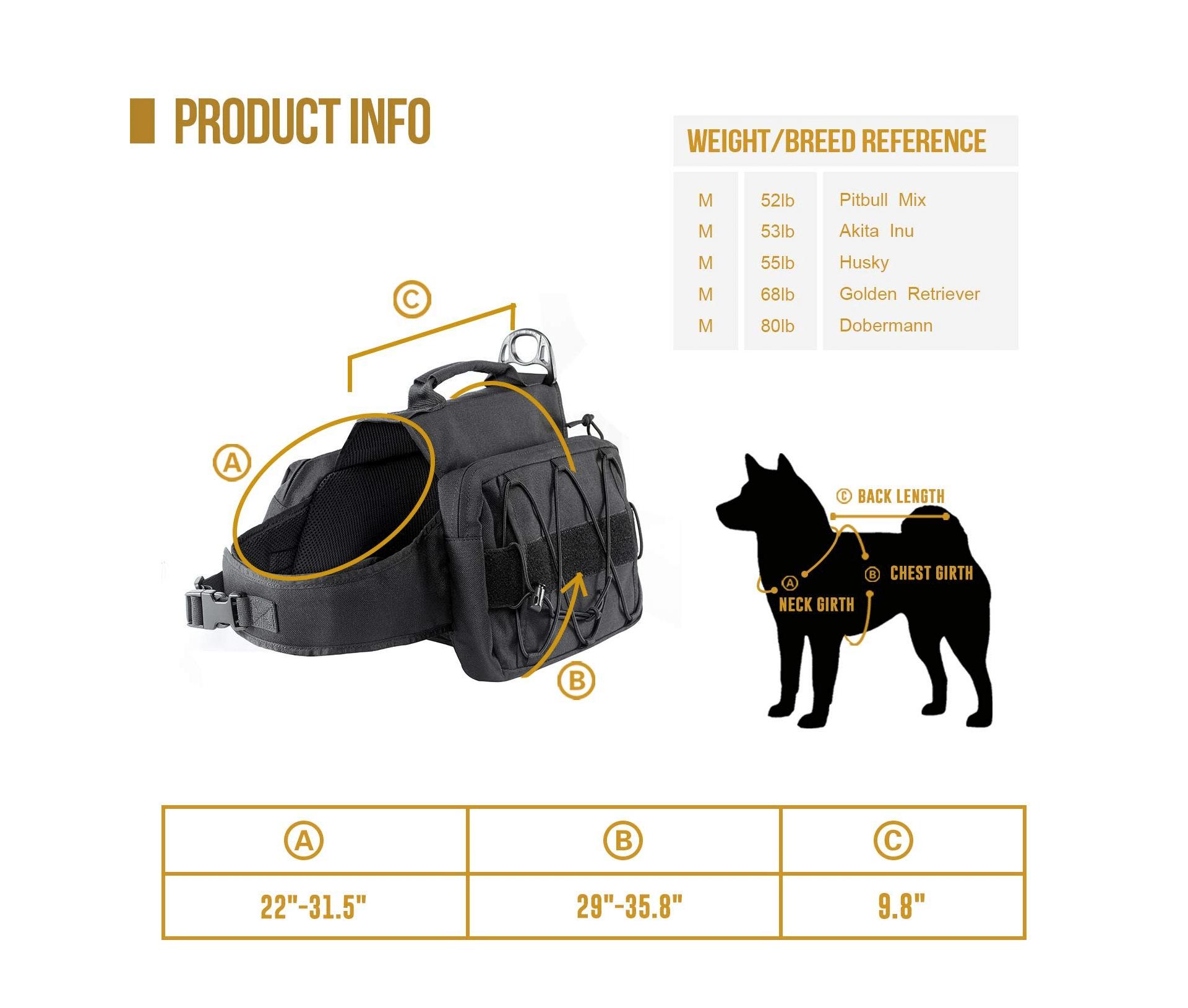 OneTigris Dog Pack Size Chart