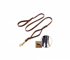Wellbro Double Handle Leather Dog Leash 6 Foot Braided Dog Training Leash Soft and Deluxe Pet Walking Lead with Copper Hook For Safe Control of Medium and Large Dogs Brown